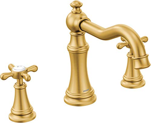 (Moen TS22101BG Weymouth 2 Deck-Mount Roman Tub Faucet with Cross Handles Trim Only, Brushed Gold)
