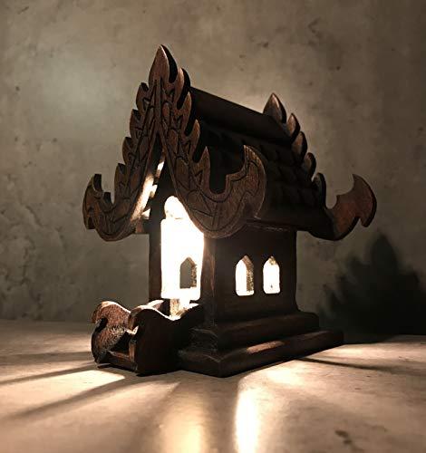LOKYA Thai Spirit House Handmade Teak Wood Vintage Asia Bedside or Table Lamp Shades Home Decor Buddhism Buddha Style Decoration Garden (Brown)