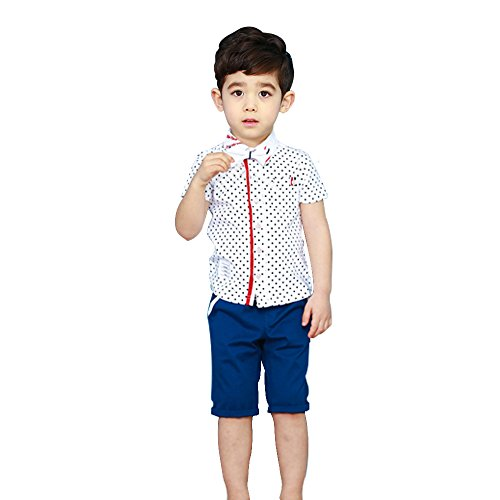 Cuteadoy Boy's Wave Point Shirt Bow Tie and Trousers 3 Pieces Suit Gentleman Style (110(3T-4T), White)