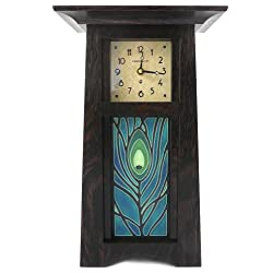 American Made Craftsman Style Mantel/Shelf Clock With Peacock Feather Art Tile, Oak Wood with Slate Finish, 15 Tall