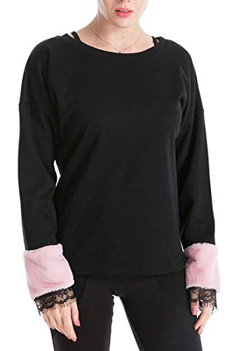 Pullover Round Faux Casual Black Womens UK Fur Sleeve Stitching today Neck Sweatshirt OzqtBw