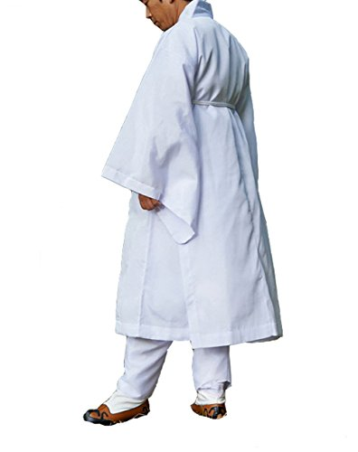 Men Water Silk Robe, Korea Traditional Men Clothing Dopo, Halloween Costumes (white, L) by Altair (Image #4)