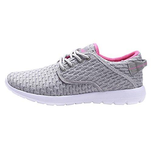COODO Damen Leichte Turnschuhe Casual Athletisch Laufende Wanderschuhe 1-grau / Pink2