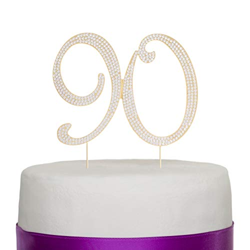 Ella Celebration 90 Cake Topper for 90th Birthday Rhinestone Number Party Supplies & Decoration Ideas (Gold)