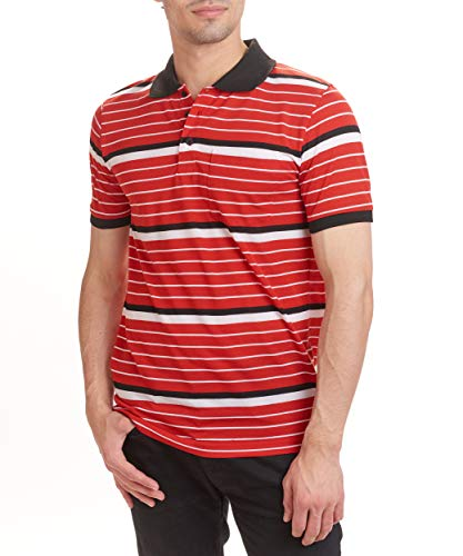 Hillcrest Men's Polo Shirts with Stripe (Medium, Red, White, and Black Stripe)