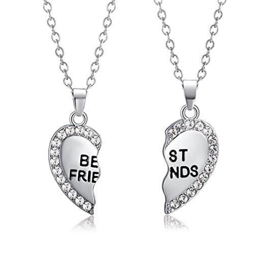 ARINLA Best Friend Heart Shape Pendant Necklace Chain Set of (Silver Best Friend Heart)