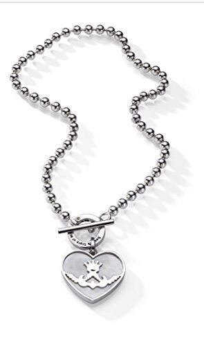 Silver Necklace with Toggle Clasp and a Silver Heart Frame Pendant Designed By Sasha's State of Mind (Necklace 45 Cm Pendant 4 Cm)