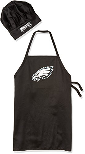 (NFL Philadelphia Eagles Chef Hat and Apron Set, Black, One Size)
