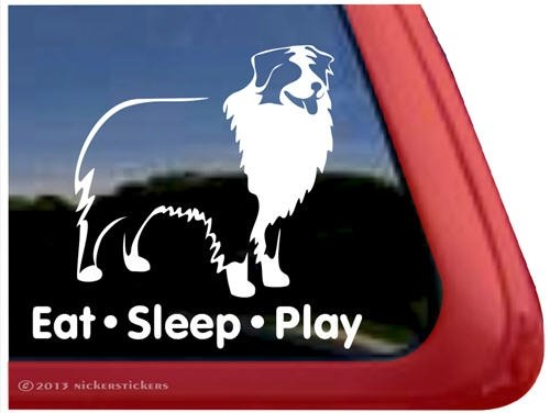 (Eat Sleep Play - Australian Shepherd Window Decal Sticker)