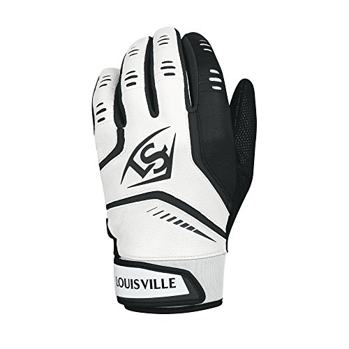 Louisville Slugger Omaha Adult Batting Gloves - X-Large, White/Black -