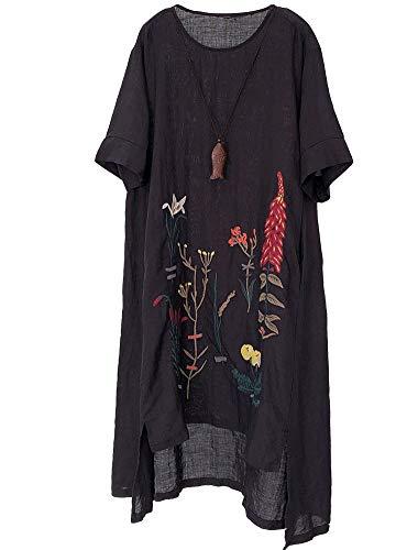 Minibee Women's Embroidered Linen Dress Summer A-Line Sundress Hi Low Tunic Clothing Black 2XL