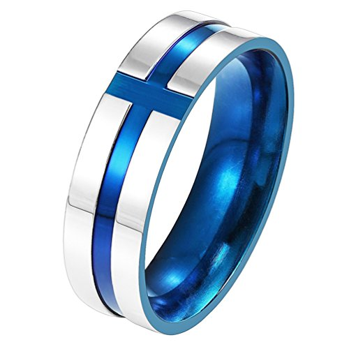 - PROSTEEL Blue Ring,Cross Ring,Wedding Band Ring,Men Jewelry,Gift for Him,Two-Tone Gold Plated,Stainless Steel,PSR2698L-08