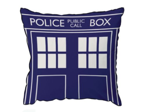 Doctor Who Tardis 16″x16″ Square Throw Pillow