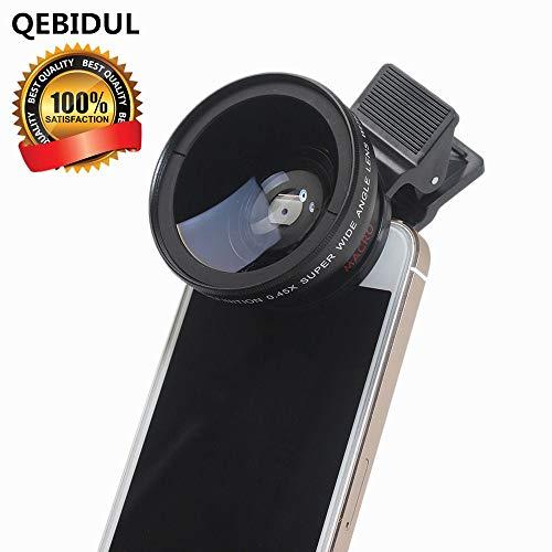 QEBIDUL Universal Clip Professional 37MM 49mmUV HD Camera Lens Kit 0.45X Super Wide Angle 12.5X Super Macro Mobile Phone Lense For iPhone 6 Plus 5S 4S Samsung S6 S5 Note 4 Xiaomi and Redmi 4 (Iphones 4s Camera Lens)
