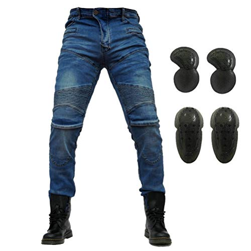 Motorcycle Riding Jeans Armor Racing Cycling Pants with Upgrade Knee Hip Protective Pads (Blue, S=28)