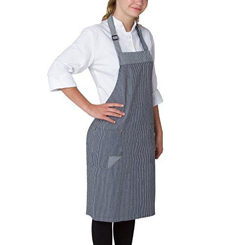 - Chefwear Chef Bib Apron for Men & Women, 100% Denim Cotton with Two Patch Pockets, Railroad Stripe