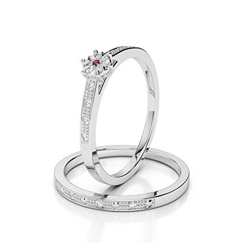 G-H/VS 0,10ct Coupe ronde sertie de diamants Rubis et diamants blancs et bague de fiançailles en platine 950Agdr-1056