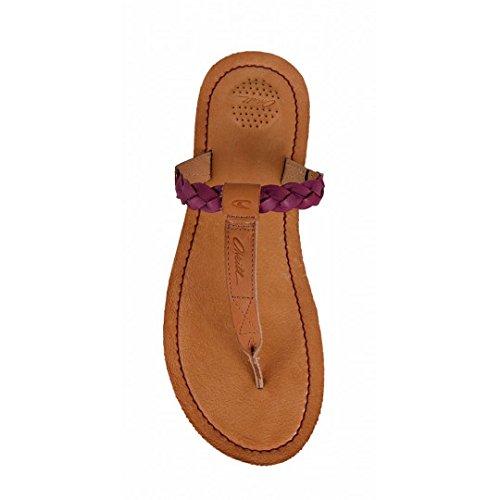 O'Neill Venice Leather Mellow Mauve Plaited T Bar Flip Flops Purple Wjxxbplm