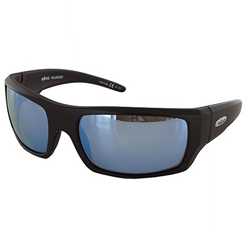 Revo Mens Canyon Polarized Sunglasses, Matte Black/Blue Water, One - Revo Polarized