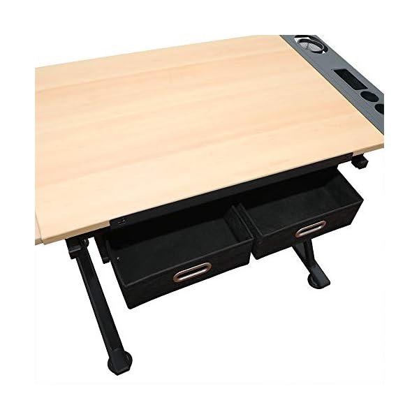 D4P Display4top inclinabile da Tavolo redazione Disegno scrivania Regolabile in Altezza e Due cassetti per Disegno… 5 spesavip