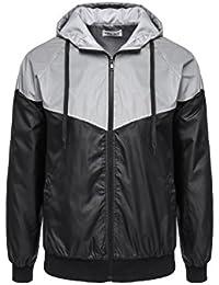 Men's Outwear 3M Reflective Zippered Hooded Jacket Windbreaker Coat Lightweight Outwear with Pocket