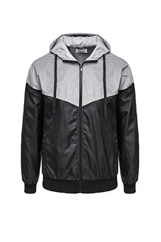 Men's 3M Reflective Zippered Hooded Jacket Windbreaker Coat Lightweight Outwear with Pocket (Asian XXL(=US L), Grey/Black) (Zippered Windbreaker)