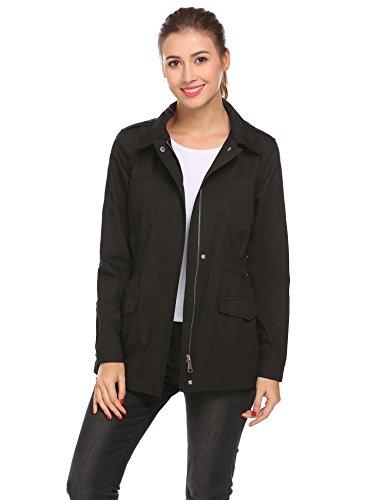 Safari Jacket Dress - SummerRio Women Military Anorak Safari Jacket Solid Windbreak Coat(Black,XXLarge)