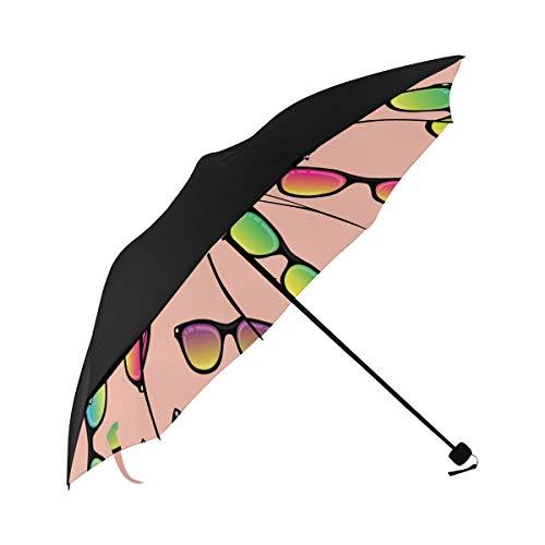 Square Sunglasses Vintage Color Compact Travel Umbrella Sun Parasol Anti Uv Foldable Umbrellas(underside Printing) As Best Present For Women Sun Uv Protection
