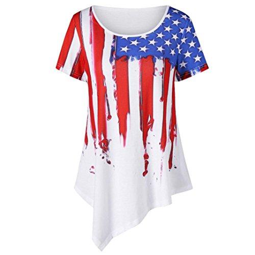 Top,kaifongfu Women Round neck Print American National Flag Top Casual Shirt Blouse T-shirt (XXL, White) from kaifongfu