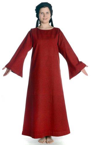 Dunkelrot dunkelrot Kleid mit grün Damen Skapulier mit XL Damenkleid HEMAD Baumwolle Mittelalter S Leinenstruktur wtqBE17n