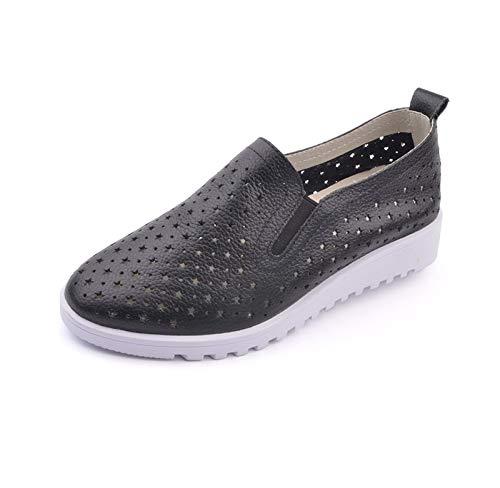 FLYRCX Chaussures Talons en Cuir à Talons Chaussures Bas Creuses Mode décontractée Chaussures de Travail Confortables Femmes Enceintes Chaussures 38 EU|black 4a7a75