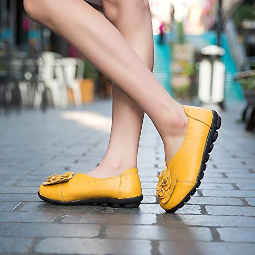 Morbide Giallo In Scarpe Sandali Pantofola Flats Donne Caviglia Casual Pelle Bhydry PwWzz
