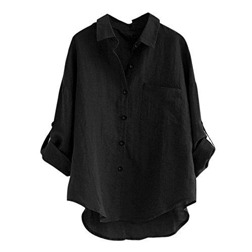 Tops V Shirt Neck Tunique Black Femmes Taille Chemise Longue T Grande Blouse Manches q0w6qY8Xxv
