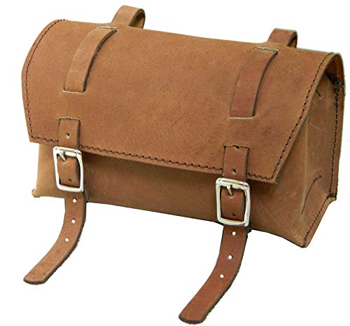 Herte Genuine Leather Bicycle Saddle Box Bag Utility Vintage Bag Brown (Suede Utility Bag)