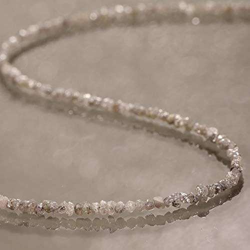 Gemshiner Collar de Diamantes en Bruto Collar de Diamantes en Bruto sin Cortar Collar de Piedras Preciosas Naturales Collar de Cuentas de Plata de Ley 925 Collares de Regalo de 45 cm