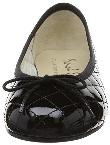 French Sole Henrietta Patent Quilt, Ballerine Donna Nero (Black (Nero))