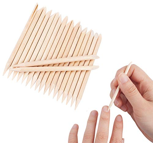 - Floranea 50 Pcs Orange Wood Sticks for Nails Natural Double Sided Multifunctional Wooden Mini Cuticle Pusher Remover Tool Kit for Manicure Pedicure