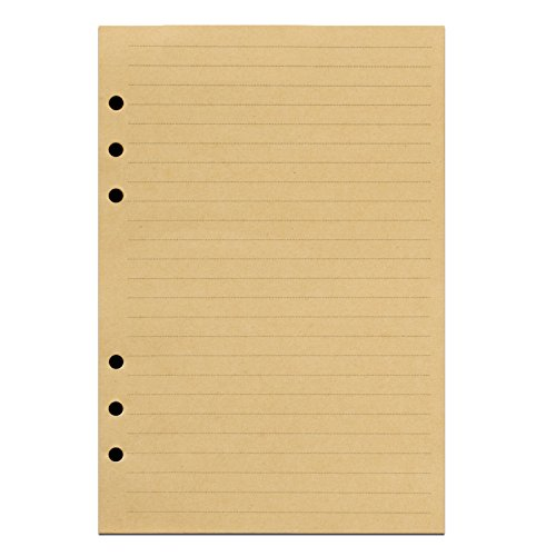 ANCICRAFT Refills Paper 6 Hole A5 5.7 X 8.25 Inches Lined Craft Paper for Loose Leaf Binder Notebook 100 Sheets / 200 Pages