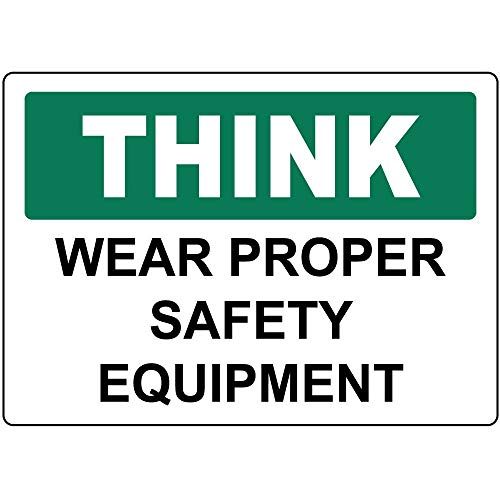 Aubrey Hammond Warning Metal Aluminum Sign - Think Wear Proper Safety Equipment 12 x 8 inch Commercial Signs