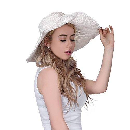 HDE Women's Wide Brim Sun Hat Floppy Packable Straw Beach Hat (White Wide Brim Hat)