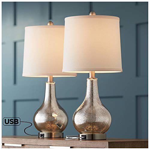 (Ledger Modern Accent Table Lamps Set of 2 with USB Charging Port Mercury Glass Off White Drum Shade for Living Room Family - 360)