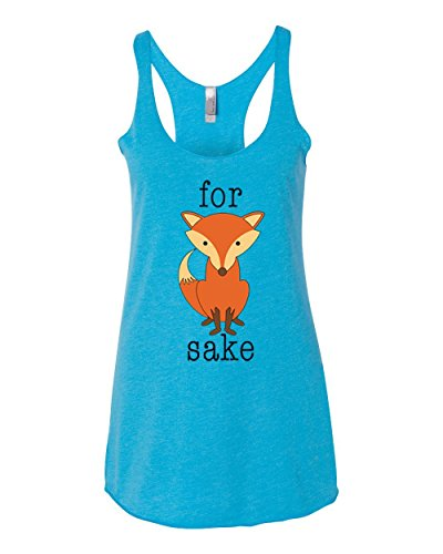 for Fox Sake   Offensive Funny Pun Gift   Womens Humor Premium Tri-Blend Racerback Tank Top, Vintage Turquoise, -