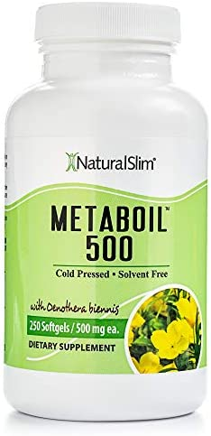 NaturalSlim Metaboil Supplement with Essential Oil Oenothera Biennis Primrose Oil , Formulated by Metabolism and Weight Loss Specialist- Natural Anti-Inflamatory and Burner of Resistive Fat