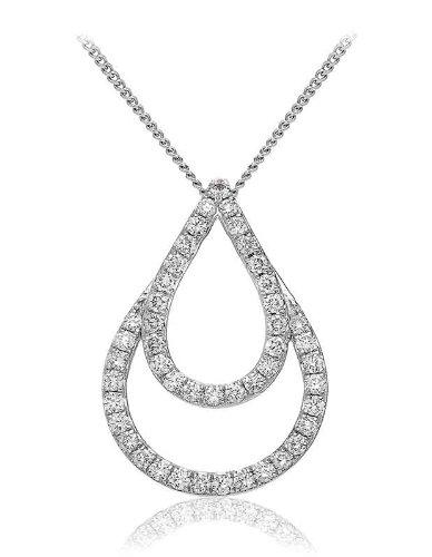 0.60CT Certified G/VS2 Round Brilliant Cut Tear Shape Sliding Diamond Pendant in 18K White Gold