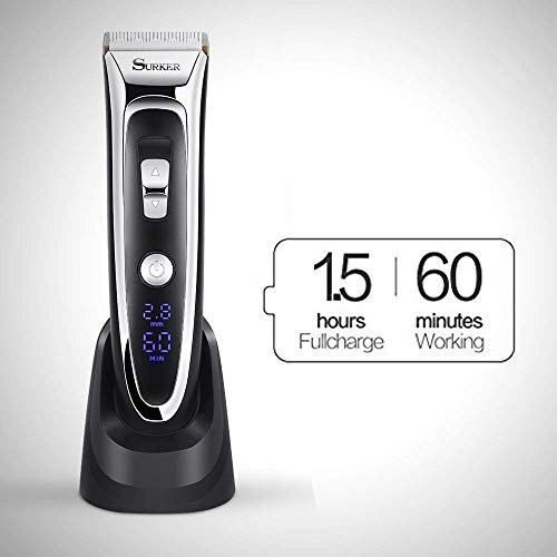 Professional Hair Clippers Set for Men, Facial and Mustache Trimmers, Cordless Electric Haircut Kit with Gear Adjustment, Security Lock and LED Display by Aiskki (Image #2)