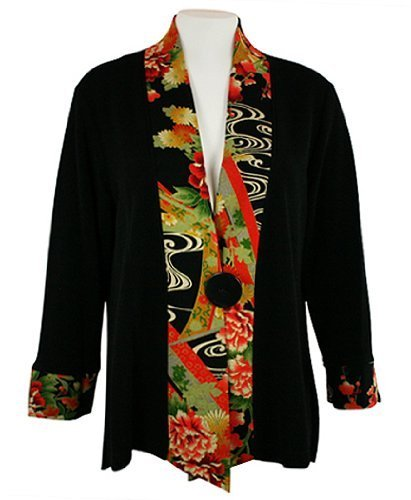 Moonlight - Asian Flower Sharkbite Hem Side & Sleeve Accented Asian Style Jacket by Connie's Moonlight