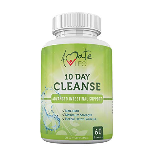 10 Day Intestinal Cleanse Supplement for Men and Women-Black Walnut Wormwood- Intestine & Colon Cleanse Detox Vitamins Dietary Supplements Parasite Cleanse for Adults Non-GMO 60 Capsules by Amate Life