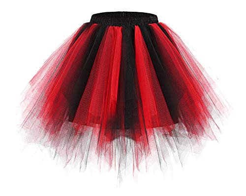 Bridesmay Women's Tutus Tulle Skirt 50s Vintage Petticoat Ballet Bubble Skirts Black-Red M