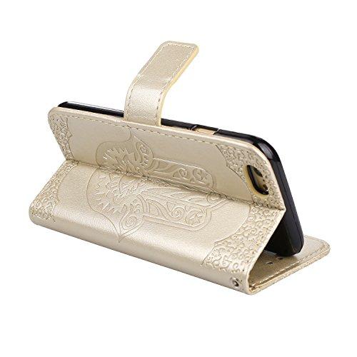 JIALUN-carcasa de telefono Cubierta de cuero de la caja de la PU con la bolsa de la carpeta y acollador y Kickstand para el iPhone 6 y 6s ( Color : Purple ) Gold