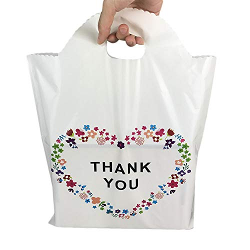 SES.CO 12x16 Die-Cut Handle Plastic Thank You Floral Merchandise Shopping Bags,Beige White,100 Count